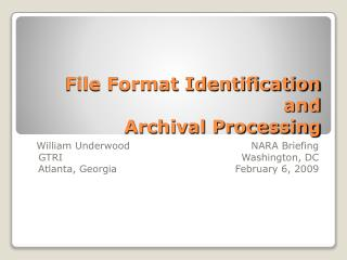 File Format Identification and Archival Processing