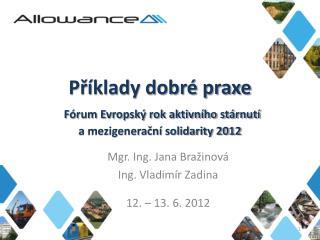 Mgr. Ing. Jana  Bražinová Ing . Vladimír  Zadina 12. – 13. 6. 2012