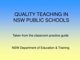 QUALITY TEACHING IN NSW PUBLIC SCHOOLS