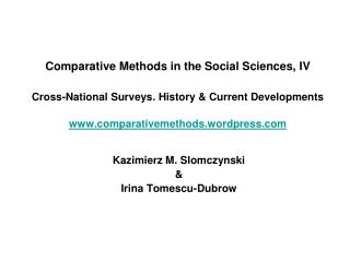 Kazimierz M. Slomczynski  &  Irina Tomescu-Dubrow