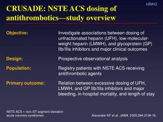 CRUSADE: NSTE ACS dosing of antithrombotics — study overview