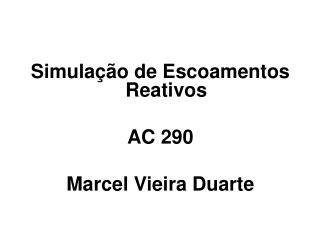 Simulação de Escoamentos Reativos  AC 290  Marcel Vieira Duarte