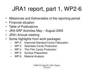 JRA1 report, part 1, WP2-6