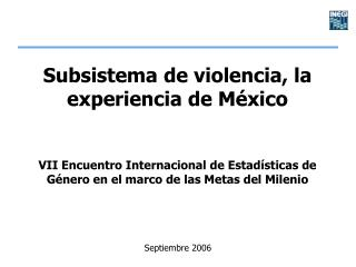 Subsistema de violencia, la experiencia de M xico   VII Encuentro Internacional de Estad sticas de G nero en el marco de