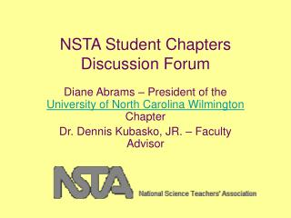 NSTA Student Chapters Discussion Forum