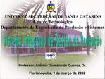 UNIVERSIDADE FEDERAL DE SANTA CATARINA Centro Tecnol gico Departamento de Engenharia de Produ  o e Sistemas