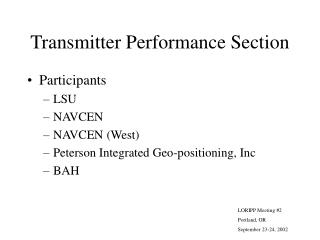 Transmitter Performance Section