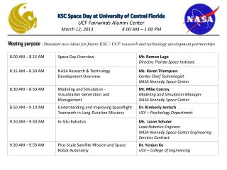 KSC Space Day at University of Central Florida UCF  Fairwinds  Alumni Center