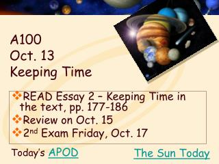 A100  Oct. 13  Keeping Time