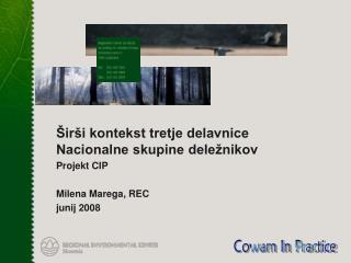 Širši kontekst tretje delavnice Nacionalne skupine deležnikov Projekt CIP  Milena Marega, REC