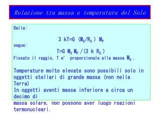 Relazione tra massa e temperatura del Sole