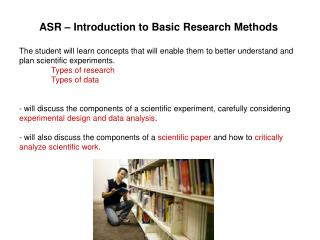 ASR – Introduction to Basic Research Methods