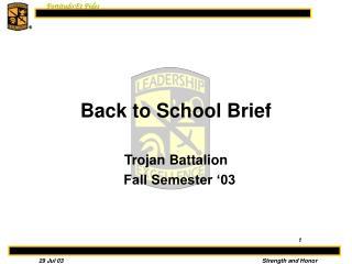 Back to School Brief