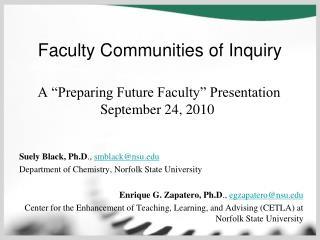 "A ""Preparing Future Faculty"" Presentation September 24, 2010"