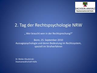 2. Tag der Rechtspsychologie NRW
