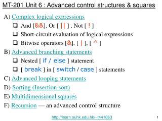 MT-201 Unit 6 : Advanced control structures & squares