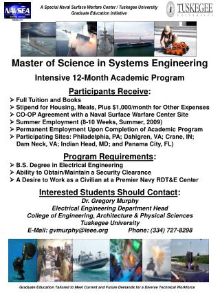 Master of Science in Systems Engineering Intensive 12-Month Academic Program