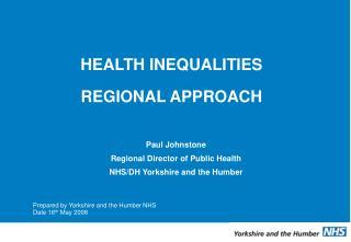 HEALTH INEQUALITIES  REGIONAL APPROACH