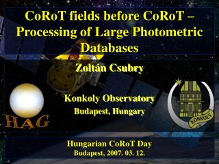 CoRoT fields before CoRoT � Processing of Large Photometric Databases