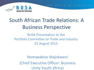 South African Trade Relations: A Business Perspective