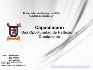 Universidad de Santiago de Chile Facultad de Educaci�n