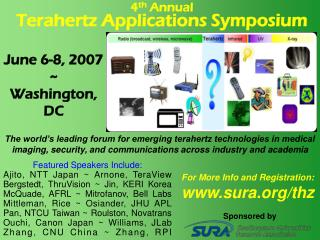 4 th  Annual Terahertz Applications Symposium