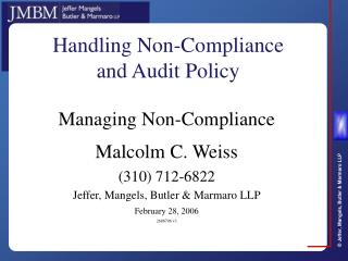 Handling Non-Compliance and Audit Policy