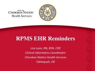 RPMS EHR Reminders