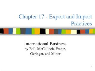 Chapter 17 - Export and Import Practices