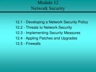 Module 12 Network Security