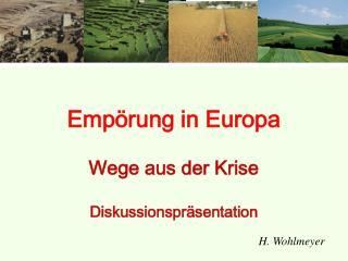 Empörung in Europa Wege aus der Krise Diskussionspräsentation