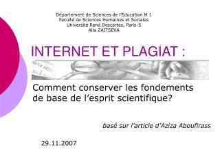 INTERNET ET PLAGIAT :