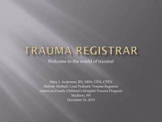 Trauma Registrar