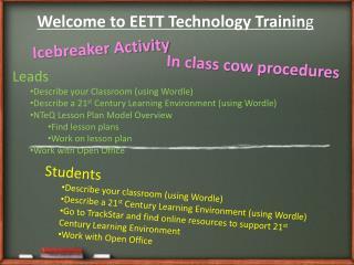 Welcome to EETT Technology Trainin g