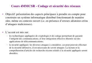 Cours 4MMCSR - Codage et sécurité des réseaux