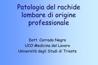 Patologia del rachide lombare di origine professionale