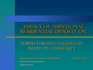 IMPACT OF ADDITIONAL RESIDENTIAL DENSITY ON