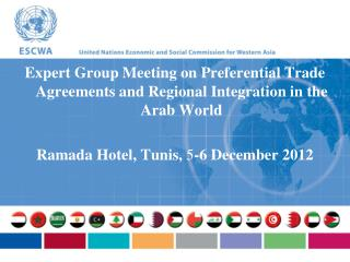 Expert Group Meeting on Preferential Trade Agreements and Regional Integration in the Arab World
