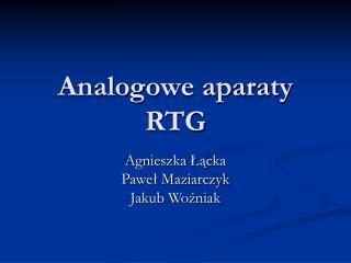 Analogowe aparaty RTG