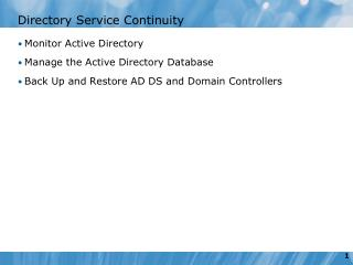Directory Service Continuity