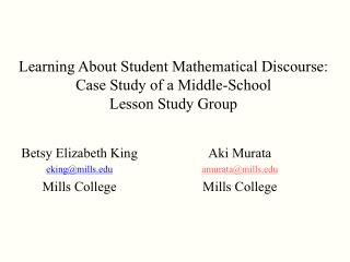Learning About Student Mathematical Discourse:  Case Study of a Middle-School  Lesson Study Group