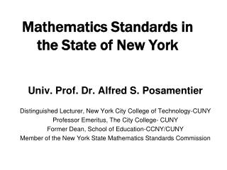 Mathematics Standards in the State of New York
