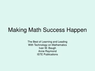 Making Math Success Happen