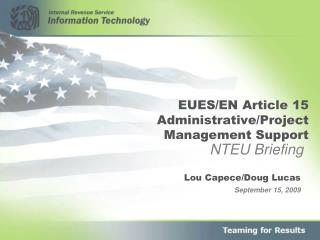 EUES/EN Article 15 Administrative/Project Management Support