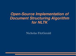 Open-Source Implementation of Document Structuring Algorithm for NLTK