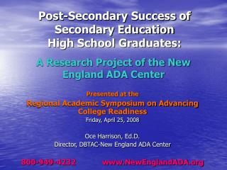 A Research Project of the New England ADA Center