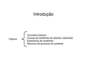 Conceitos básicos Causas de acidentes em plantas industriais Estatísticas de acidentes