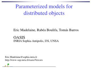 Parameterized models for  distributed objects