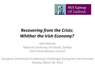 Recovering from the Crisis:  Whither the Irish Economy?