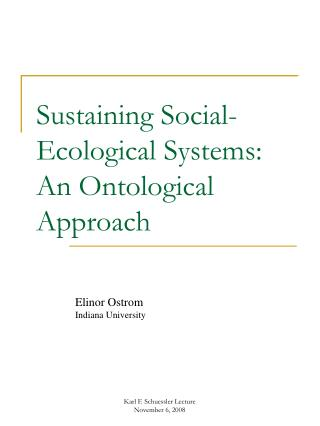 Sustaining Social-Ecological Systems:  An Ontological Approach